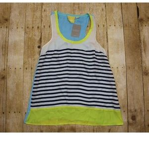 Womens S Maeve Neon Color Block Striped Tank Top